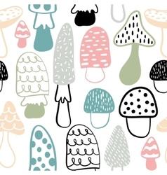 Mushroom seamless pattern modern doodle vector