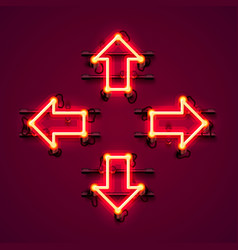 neon arrow up down left and right vector image