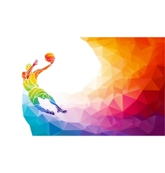 Polygonal geometric basketball player jump shot vector