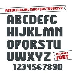 Sans serif geometric military font vector image