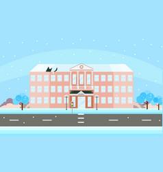 School building facade in winter time vector