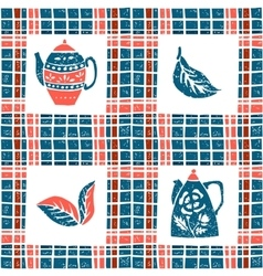 Seamless pattern in lino style teapots and plaid vector image vector image