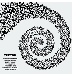 Spiral of black icons of various currencies vector