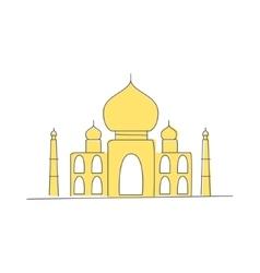 Taj mahal building in india vector