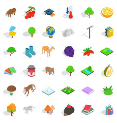 tree icons set isometric style vector image vector image