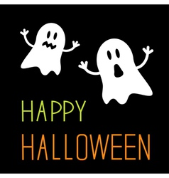 Two funny Halloween ghosts Card vector image