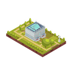 University building with park isometric layout vector