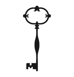 Vintage antique key black silhouette isolated on vector image