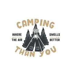 vintage hand drawn camping badge and emblem vector image