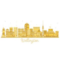 Wellington new zealand city skyline golden vector
