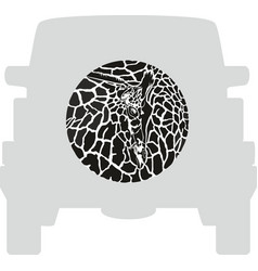 Wheel cover - giraffe vector