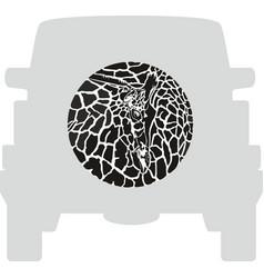 wheel cover - giraffe vector image