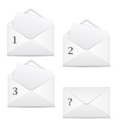 White envelopes with 3 options and question vector