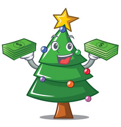 With money christmas tree character cartoon vector