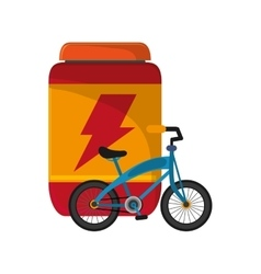 Protein powder supplement and bike icon vector