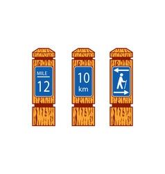 Wooden mile marker signs retro vector