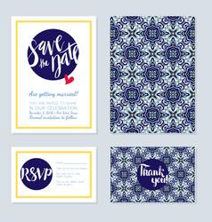 Antique vintage card wedding azulejos in vector