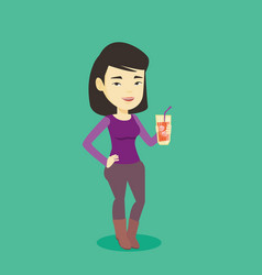 Woman drinking cocktail vector