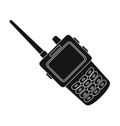 Handheld transceiver icon in black style isolated vector