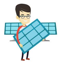 man holding solar panel vector image