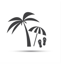 Holiday icon with palm beach umbrella and flip vector