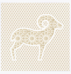 Greeting card with silhouette of ornamental sheep vector