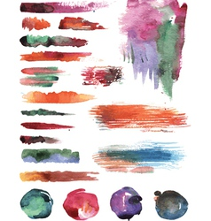 Set of watercolor strokes vector image