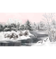 Winter watercolor landscape vector