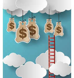 Money and stair on cloud vector