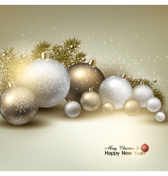 Christmas balls golden Xmas baubles Garland vector image
