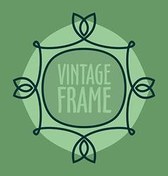 Simple vintage outlined frame Floral retro design vector image
