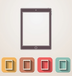 Tablet flat icons set fadding shadow effect vector