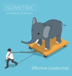 Isometic businessman pull elephant vector