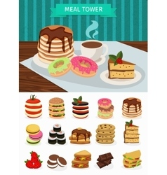 Meal tower banner vector