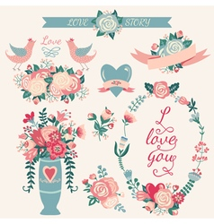 Hand drawn wedding collection vector