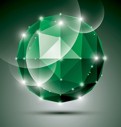 Abstract 3D emerald gleam sphere with sparkles vector image vector image