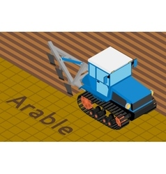Agricultural crawler tractor with plow tillage a vector image vector image