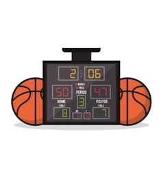 Ball and marker of basketball sport design vector