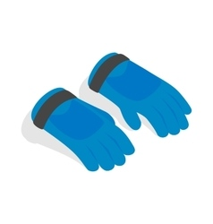 Blue winter ski gloves icon isometric 3d style vector image vector image