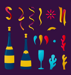 champagne party drink collection for special event vector image