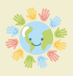 Children world hands vector