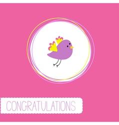 Congratulations card with cute violet bird vector
