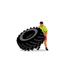 Crossfit training sign Extreme power man flipping vector image