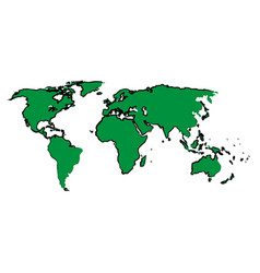 Drawing green map world continent image vector