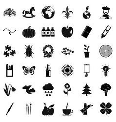 Eco decoration icons set simple style vector