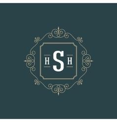 Flourishes calligraphic monogram emblem template vector image vector image