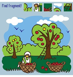 Game find fragment picking apples vector