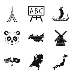 Geographic region icons set simple style vector
