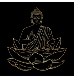 Gold Buddha sitting on Lotus vector image vector image