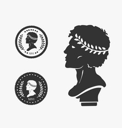 Greek profile coin vector